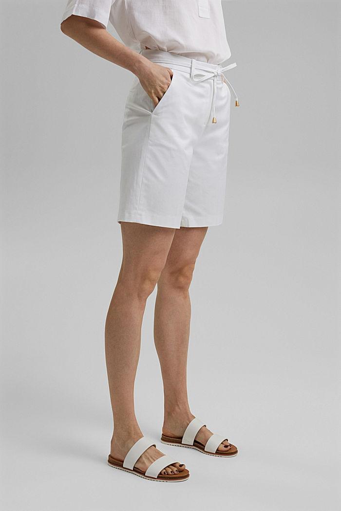 Short premium en twill à ceinture, WHITE, detail image number 0