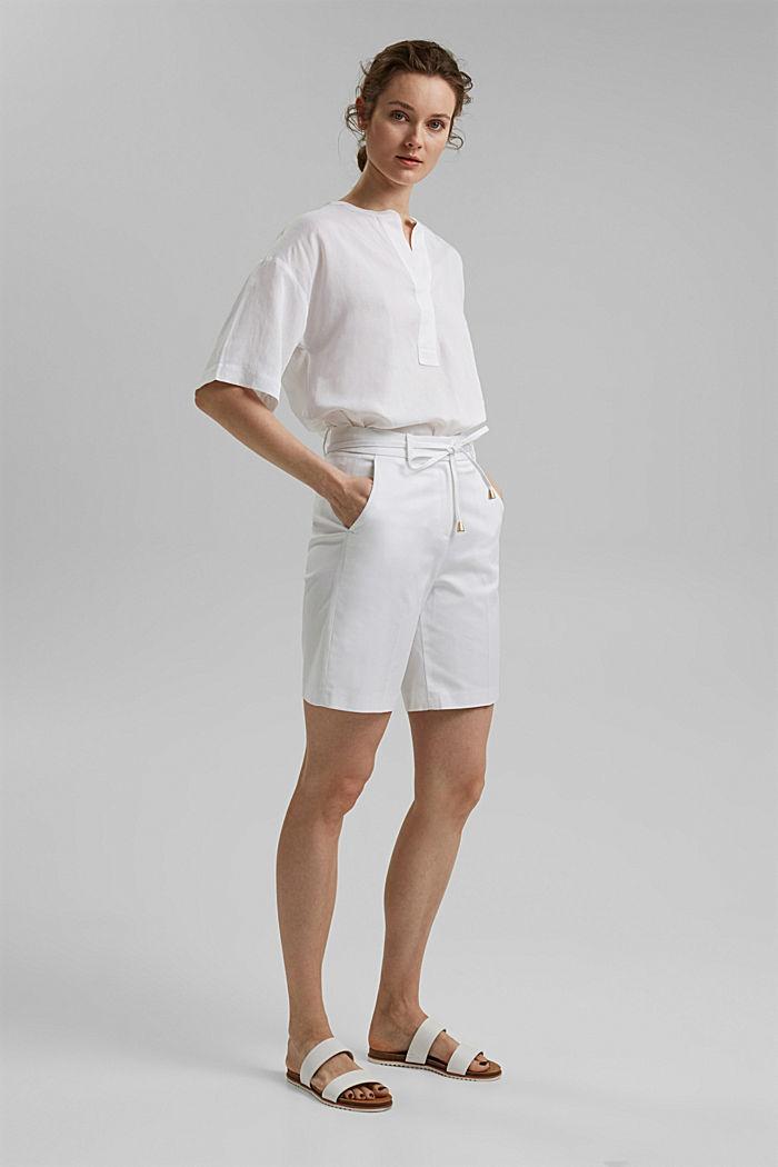 Short premium en twill à ceinture, WHITE, detail image number 1
