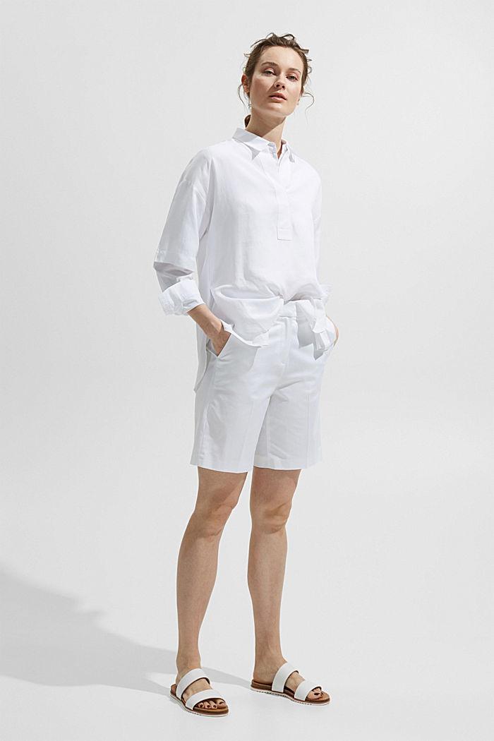 Short premium en twill à ceinture, WHITE, detail image number 6