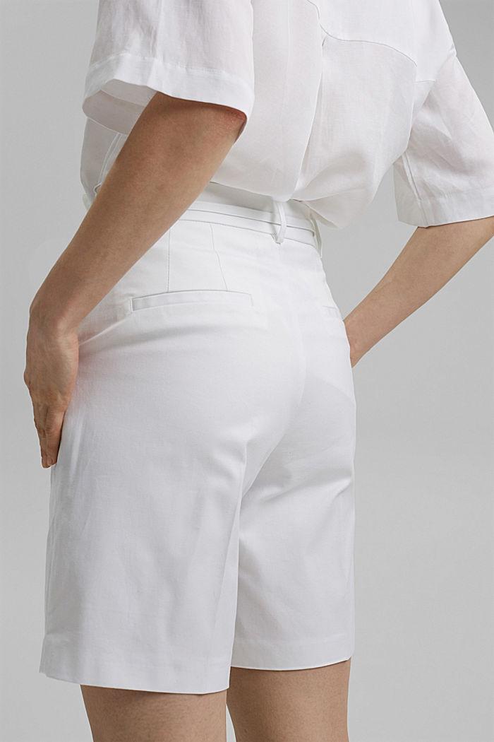 Short premium en twill à ceinture, WHITE, detail image number 5