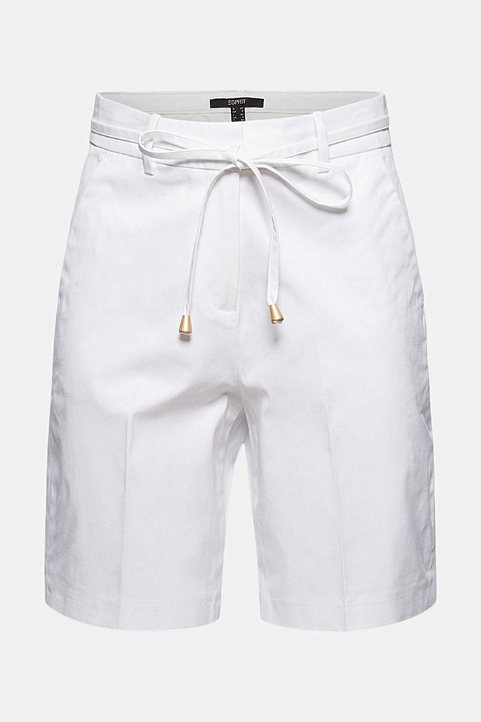 Short premium en twill à ceinture, WHITE, detail image number 7