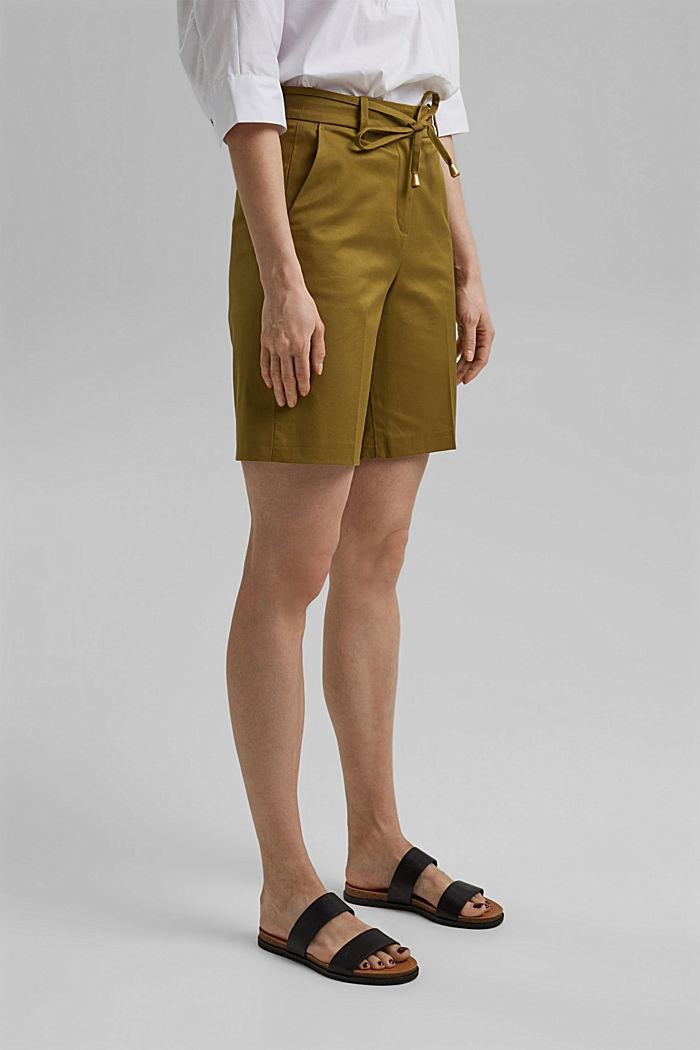 Short premium en twill à ceinture, OLIVE, detail image number 0