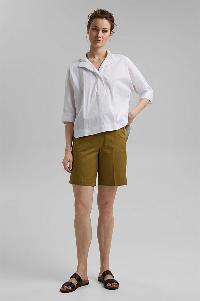 Short premium en twill à ceinture, OLIVE, detail image number 1