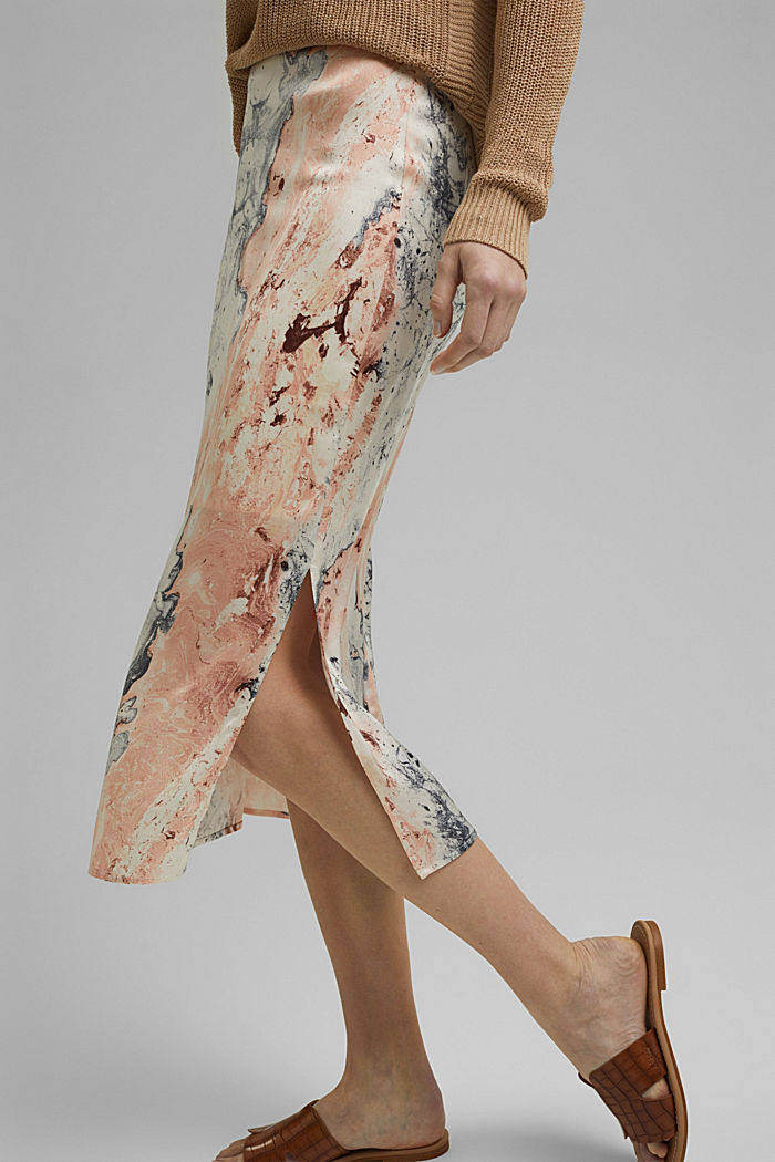 Midi skirt with marble print, DUSTY NUDE, detail image number 0