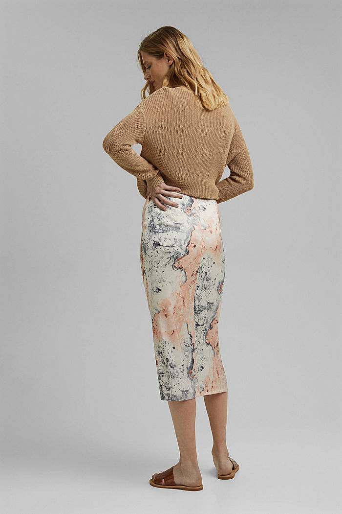 Midi skirt with marble print, DUSTY NUDE, detail image number 3