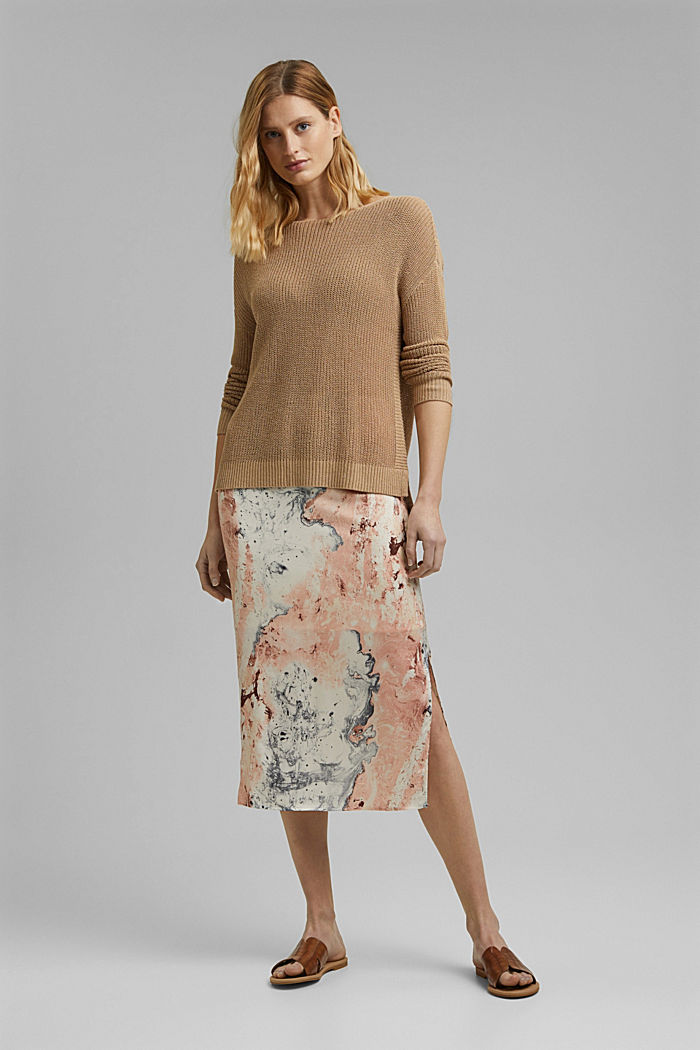 Midi skirt with marble print, DUSTY NUDE, detail image number 1