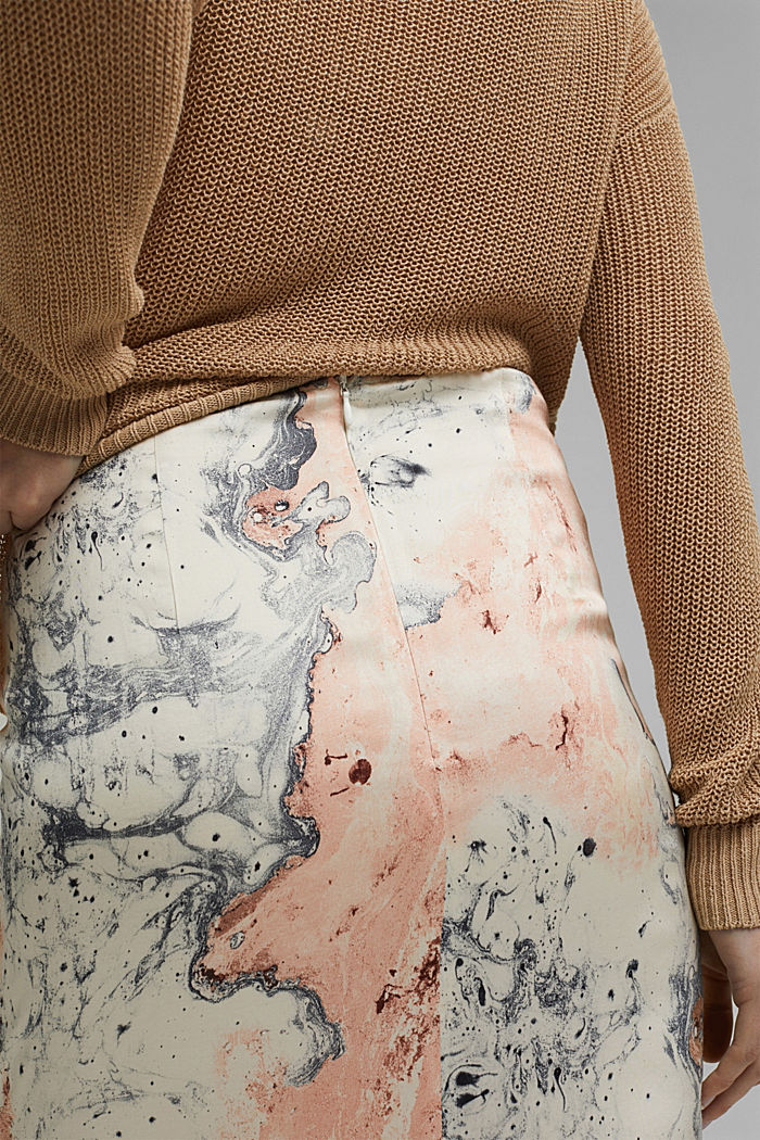 Midi skirt with marble print, DUSTY NUDE, detail image number 2