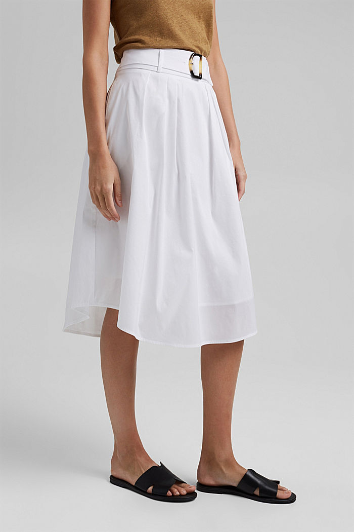 Midi skirt with a belt made of blended cotton, WHITE, detail image number 0