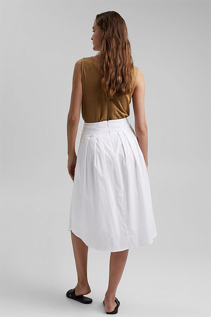 Midi skirt with a belt made of blended cotton, WHITE, detail image number 3