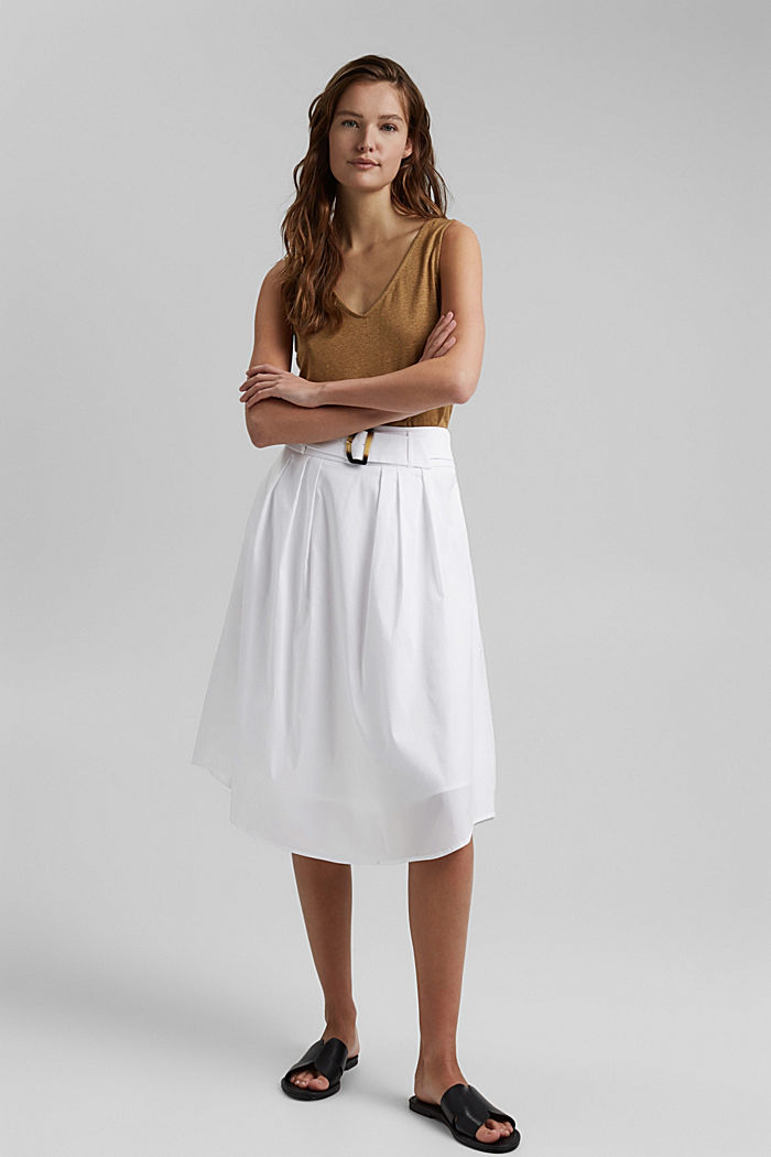 Midi skirt with a belt made of blended cotton, WHITE, detail image number 1