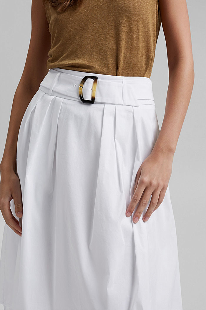 Midi skirt with a belt made of blended cotton, WHITE, detail image number 2