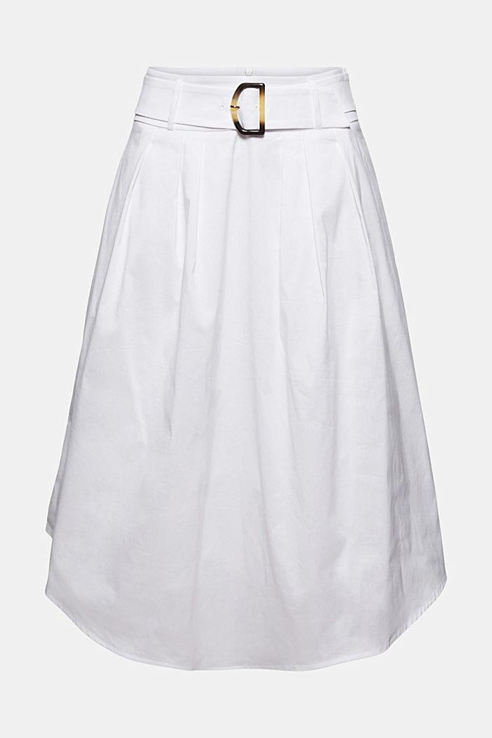 Midi-nederdel med bælte, bomuldsblanding