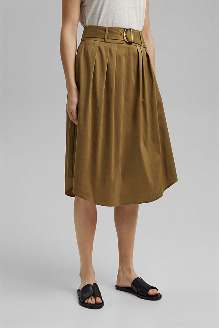 Midi skirt with a belt made of blended cotton