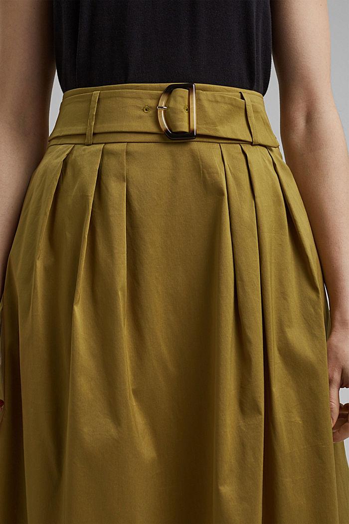 Jupe longueur midi en coton mélangé, dotée d'une ceinture, OLIVE, detail image number 2