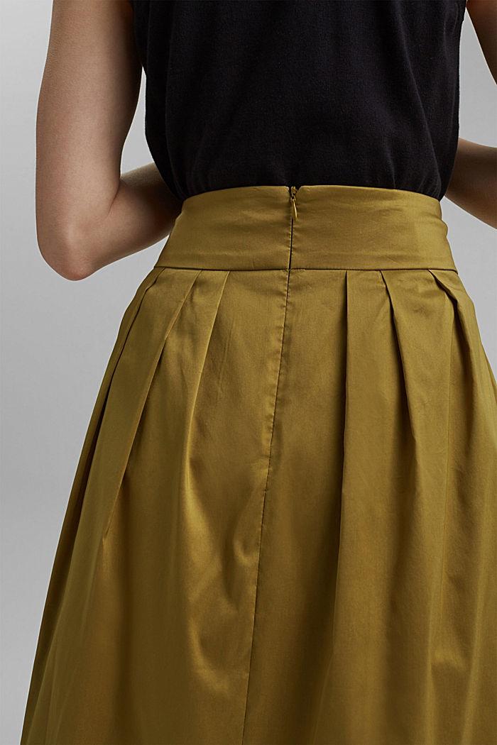 Jupe longueur midi en coton mélangé, dotée d'une ceinture, OLIVE, detail image number 5