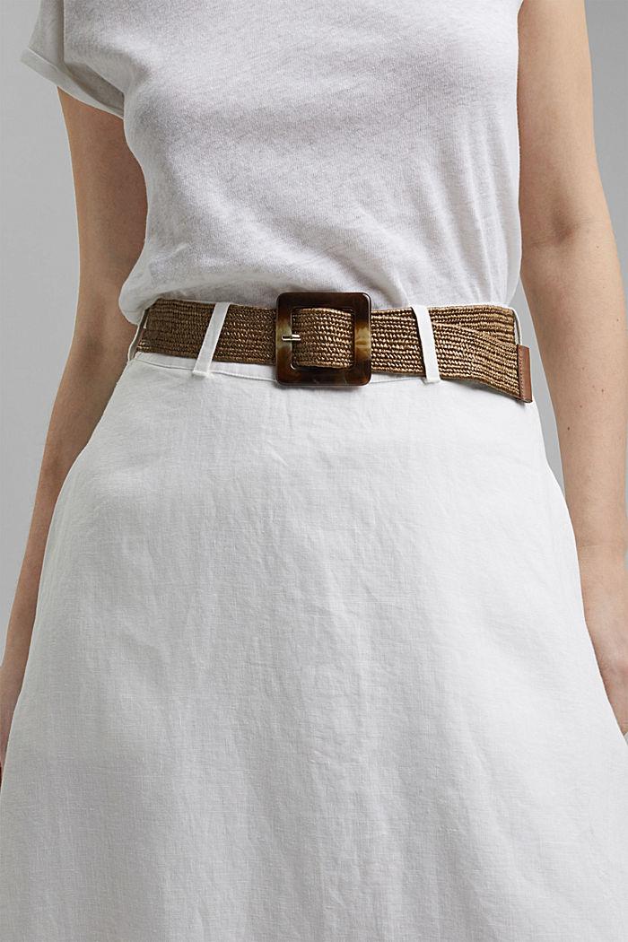 En lino: maxifalda con cinturón, WHITE, detail image number 2
