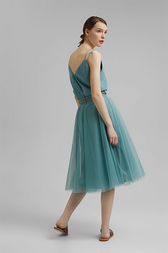 Embroidered tulle skirt in a midi length, DARK TURQUOISE, detail image number 3