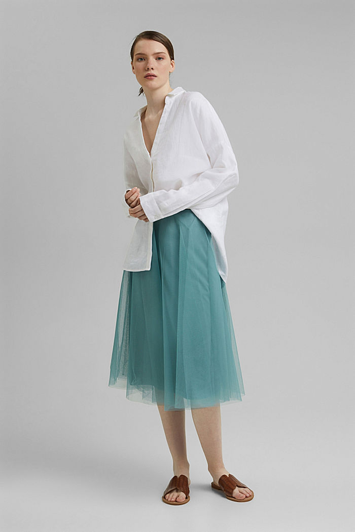 Embroidered tulle skirt in a midi length, DARK TURQUOISE, detail image number 6