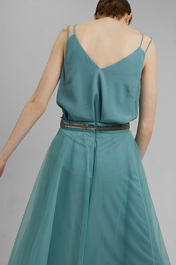 Embroidered tulle skirt in a midi length, DARK TURQUOISE, detail image number 5