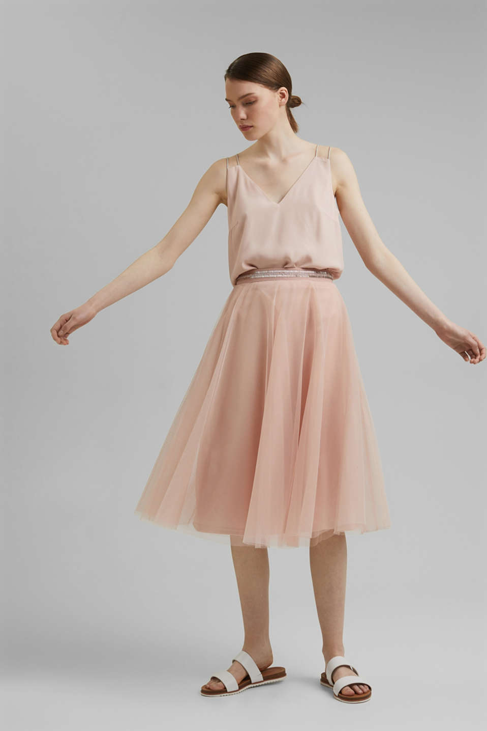 Esprit - Gonna in tulle ricamato dalla lunghezza midi