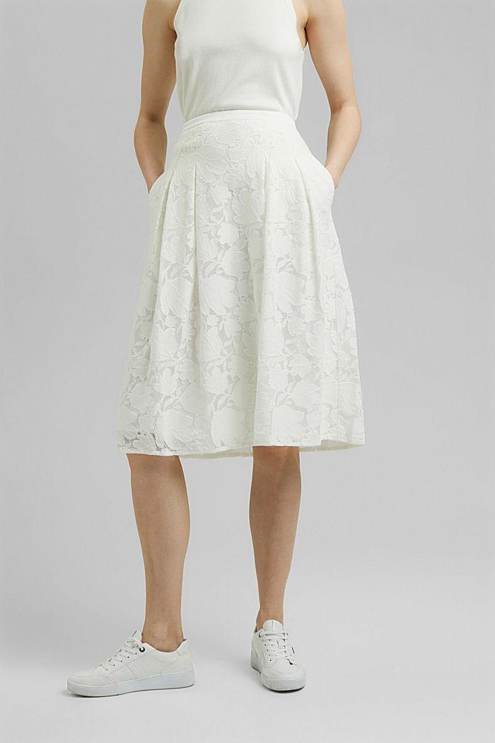 Falda midi de encaje floral, OFF WHITE, detail image number 0