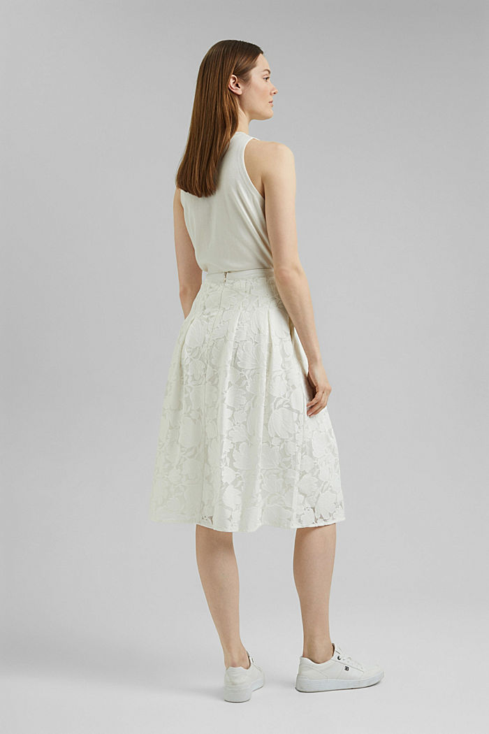 Falda midi de encaje floral, OFF WHITE, detail image number 3