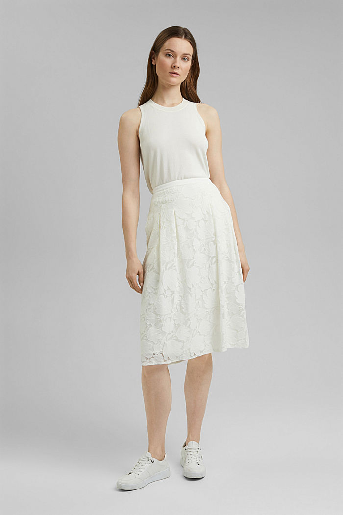 Falda midi de encaje floral, OFF WHITE, detail image number 1
