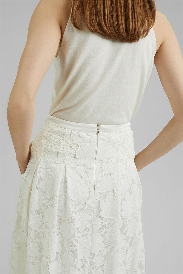Falda midi de encaje floral, OFF WHITE, detail image number 2