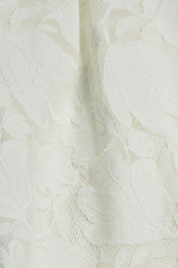 Falda midi de encaje floral, OFF WHITE, detail image number 4