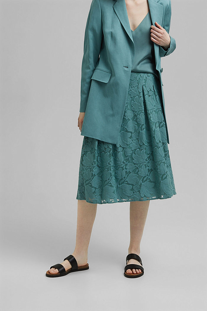Midi sukně z květinové krajky, DARK TURQUOISE, detail image number 0