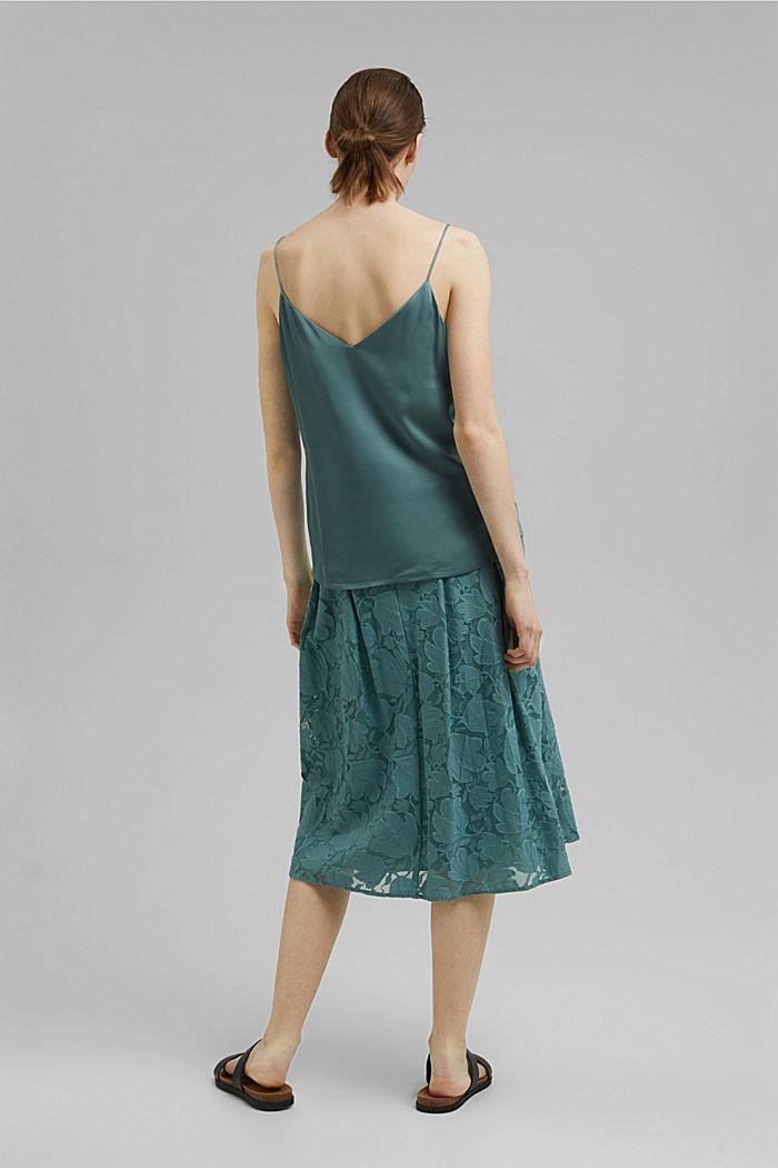 Midi sukně z květinové krajky, DARK TURQUOISE, detail image number 3