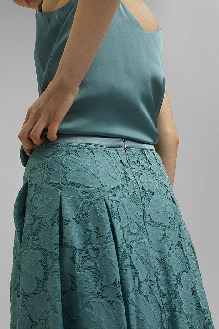 Midi sukně z květinové krajky, DARK TURQUOISE, detail image number 5