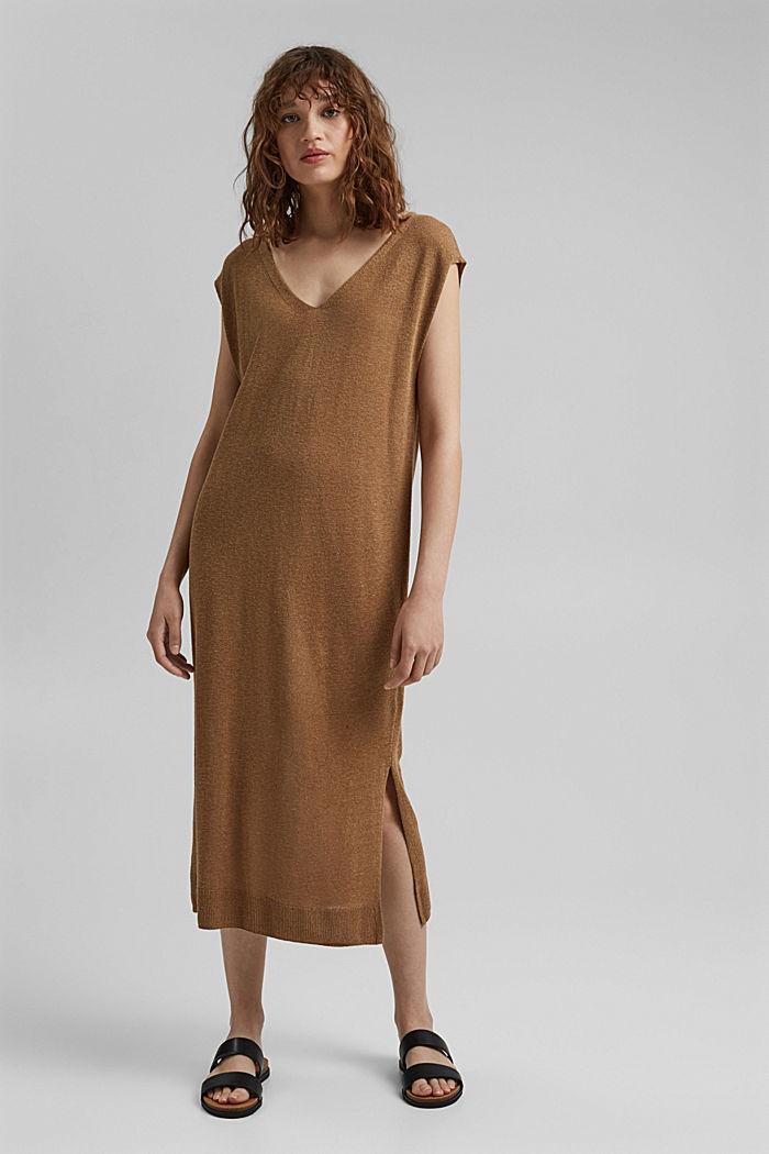 Con lino: abito midi in maglia