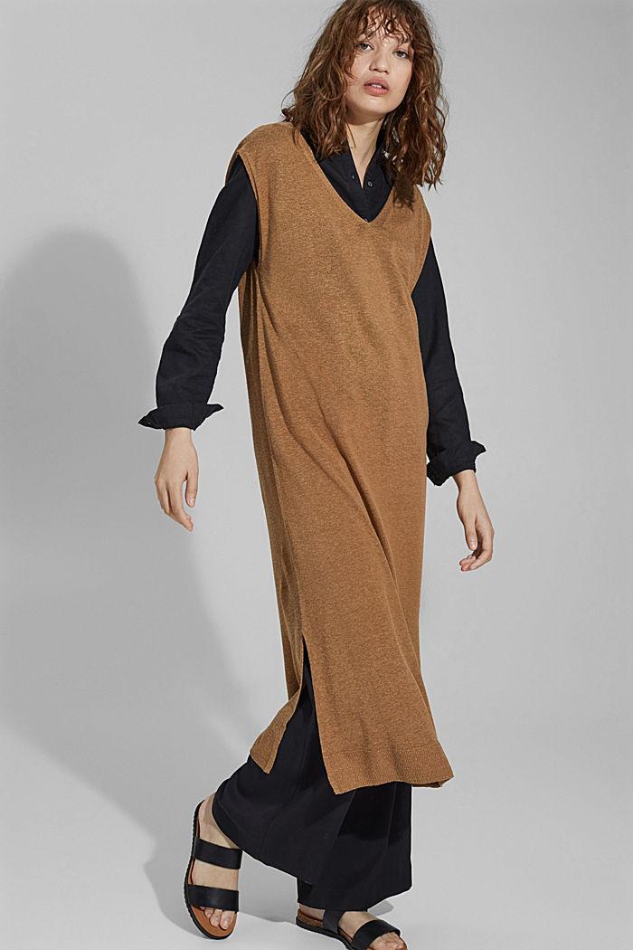 À teneur en lin: robe-pull de longueur midi, BARK, detail image number 5