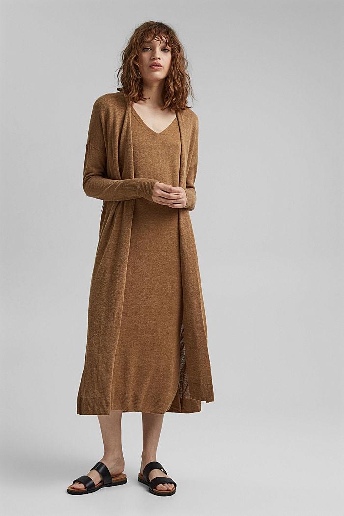 À teneur en lin: robe-pull de longueur midi, BARK, detail image number 1