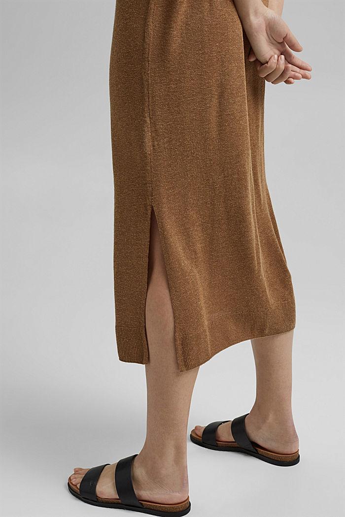 À teneur en lin: robe-pull de longueur midi, BARK, detail image number 3