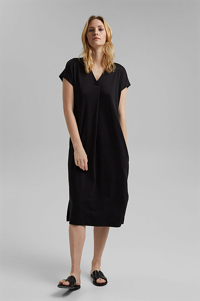 Knitted dress, BLACK, overview
