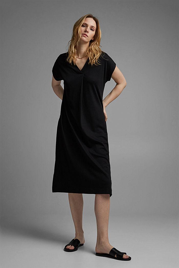 TENCEL™ mélangé: robe en jersey interlock, BLACK, detail image number 1