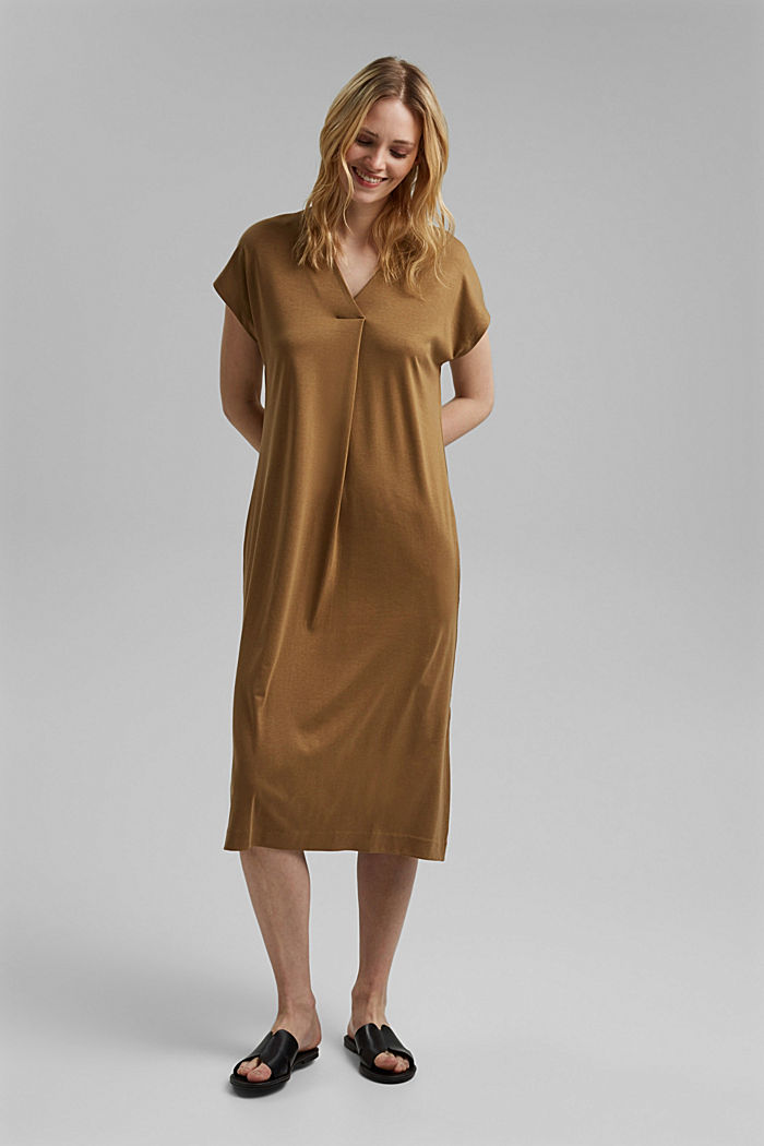 TENCEL™ blend: interlock jersey dress, BARK, detail image number 1