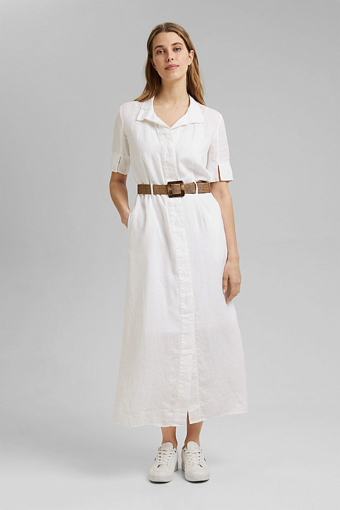 Linen: shirt dress with a belt, WHITE, detail image number 0