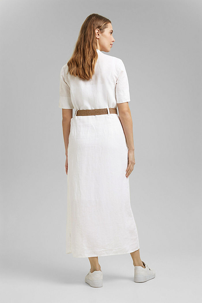 Linen: shirt dress with a belt, WHITE, detail image number 2