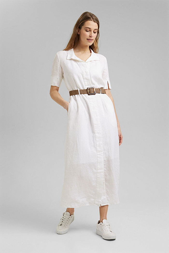 Linen: shirt dress with a belt, WHITE, detail image number 1