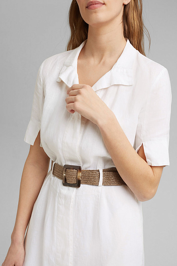 Linen: shirt dress with a belt, WHITE, detail image number 3