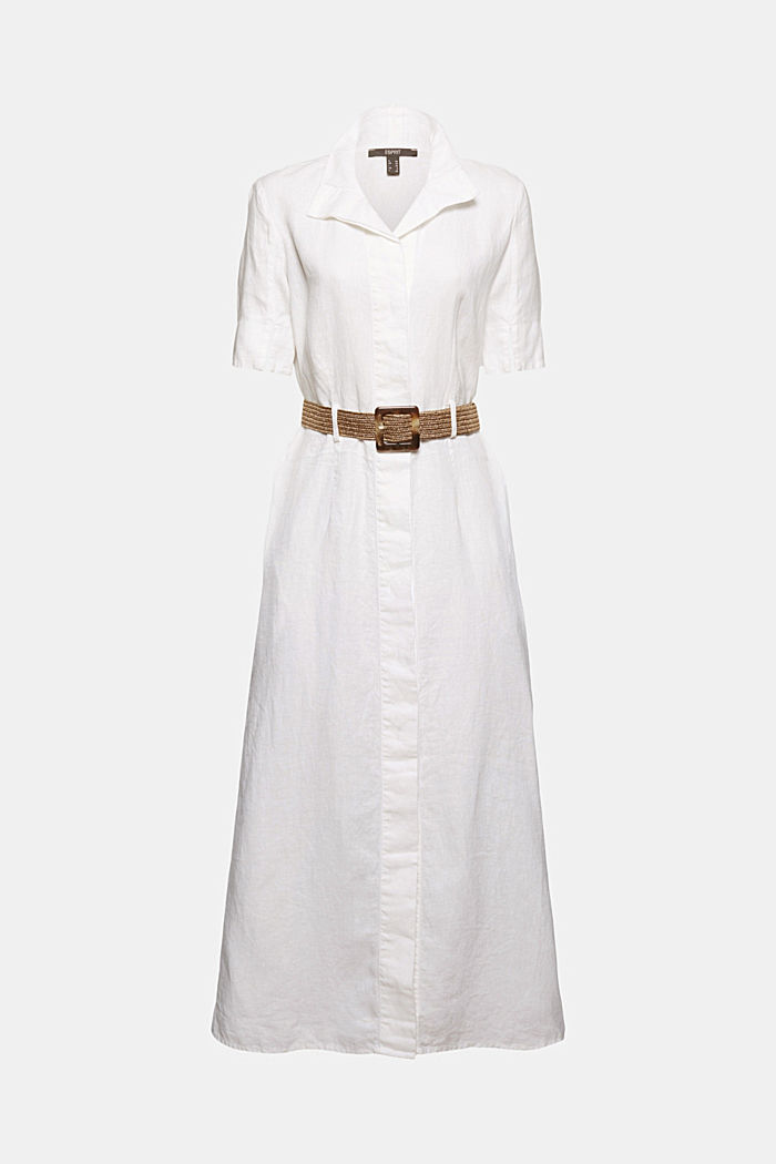 Linen: shirt dress with a belt, WHITE, detail image number 5