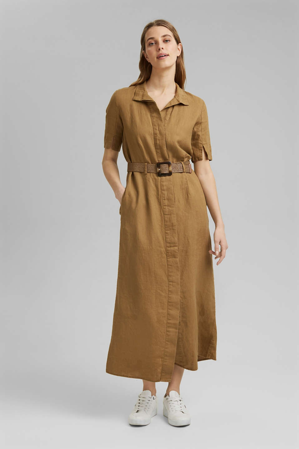 Esprit - Linen: shirt dress with a belt