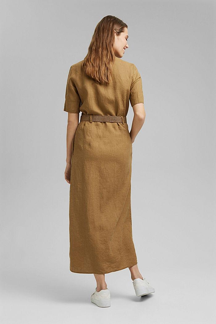 Leinen: Hemdblusenkleid mit Gürtel, BARK, detail image number 2