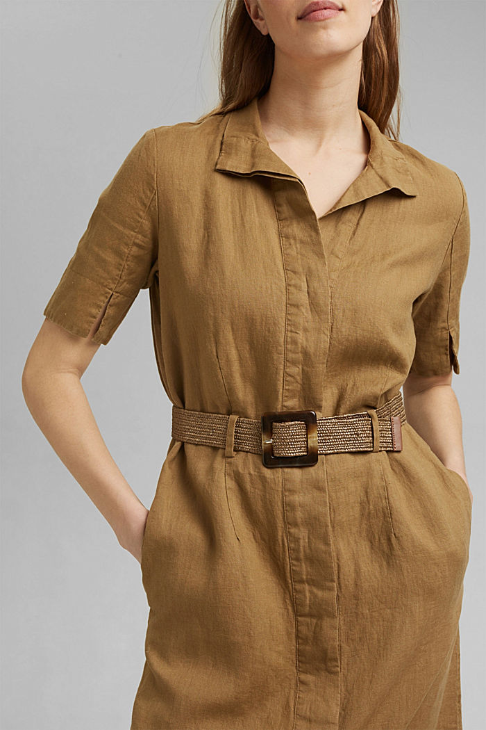 Leinen: Hemdblusenkleid mit Gürtel, BARK, detail image number 3
