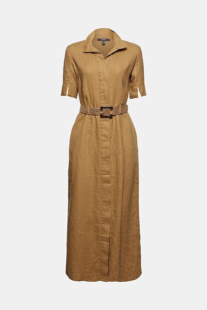 Leinen: Hemdblusenkleid mit Gürtel