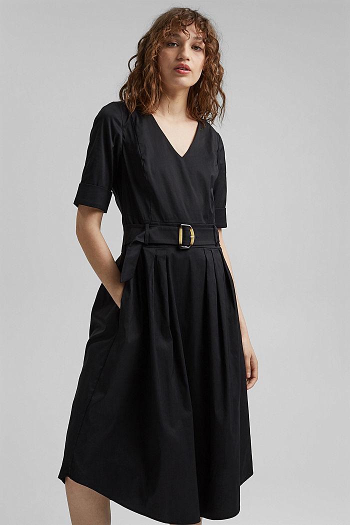 Blended cotton midi dress with a belt, BLACK, detail image number 0