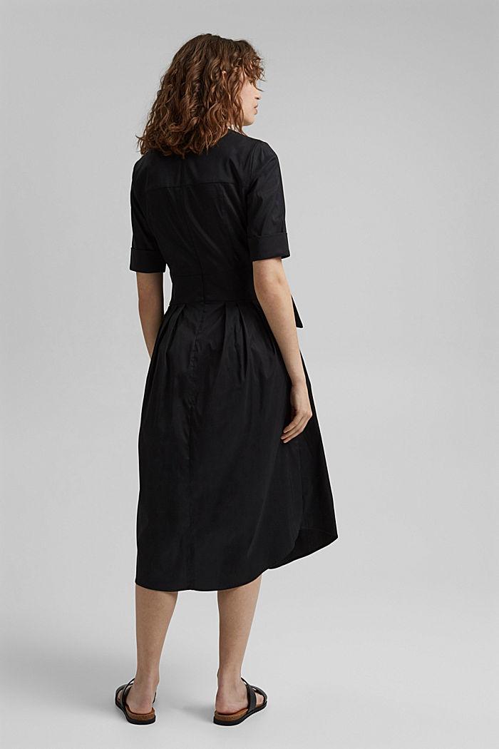 Blended cotton midi dress with a belt, BLACK, detail image number 2